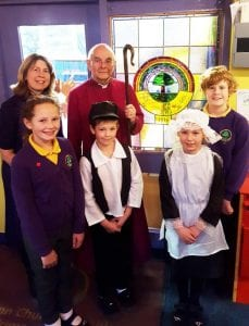 A TEESDALE primary school had a special visitor on Monday as it unveiled a new stained glass window to mark its 200th anniversary. Ex pupils and staff from as many as four generations joined Ingleton Primary CofE School children for the assembly with the Bishop of Jarrow, the Rt Rev Mark Bryant. Current pupils Maddy Schaible, Jayden Thompson, Freya Hunt and Leon Goldsworthy gave a presentation about what life was like at the village school when it opened in 1816 compared to the present day.